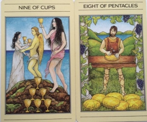 CUPS PENTACLES nie of and eight of